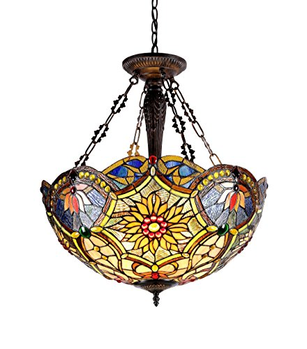 Light Glass Table Fixture Stained - Chloe Lighting CH33270VB21-UH3 Tiffany-Style Victorian 3 Light Inverted Ceiling Pendant 21-Inch Shade, Multi-Colored