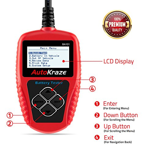 AutoKraze BA101 Automotive Battery Load Tester 12V 100-2000 CCA Bad Cell Test Analyzer Tool Directly Test Car, Boat, and Motorcycle Battery Status Portable, Digital and Rechargeable Battery Tester by AutoKraze (Image #5)