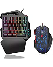 RuleaxAsi J50 One-Handed Gaming Keyboard 35 Keys LED Backlight + Wired Gaming Mouse with Breathing Light 5500 DPI 7 Button Keyboard and Mouse Combo