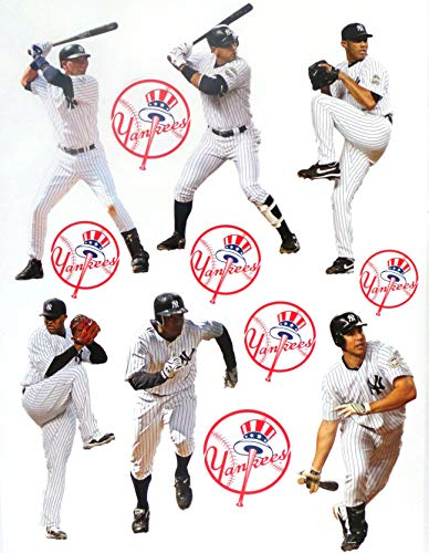 "FATHEAD New York Yankees Team Set 6 Players, 6 Yankees Logo Official MLB Vinyl Wall Graphics - Each Player 7"" INCH - Jeter, A-Rod, Rivera"
