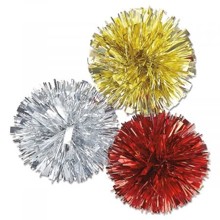 Metallic Pom Pom Bows- Set of 6 Holiday Gift Wrp Bows
