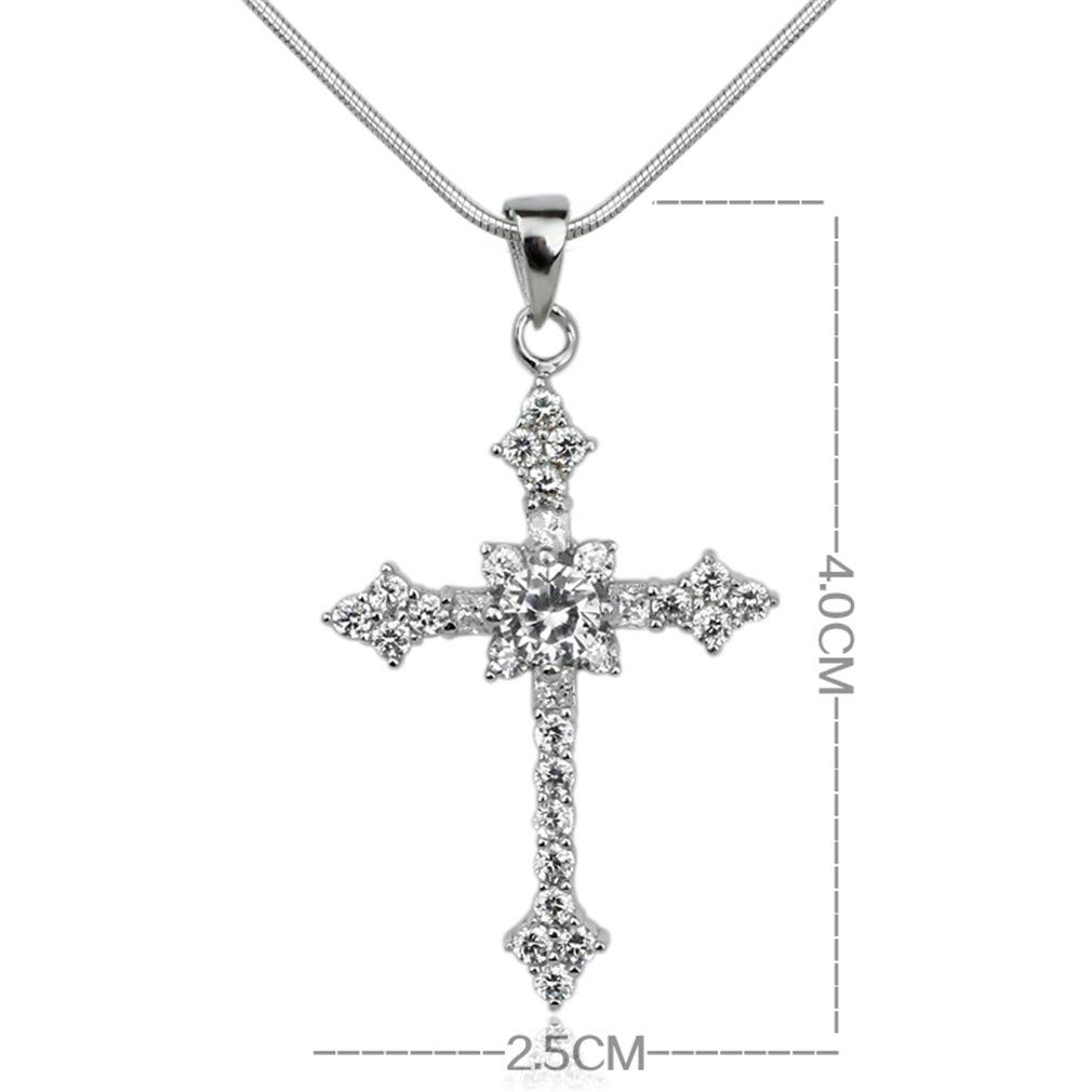 YHDBH Women 925 Sterling Silver Round CZ Cross Pendant Necklace Crystal for Ladies