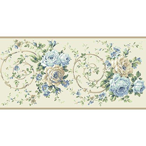 Blue Scroll Wallpaper - York Wallcoverings Casabella II Rose Scroll Border Memo Sample, 8 by 10-Inch, Buttermilk, Pale Blue, Deep Sky Blue, Ecru, White, Various Green Hues