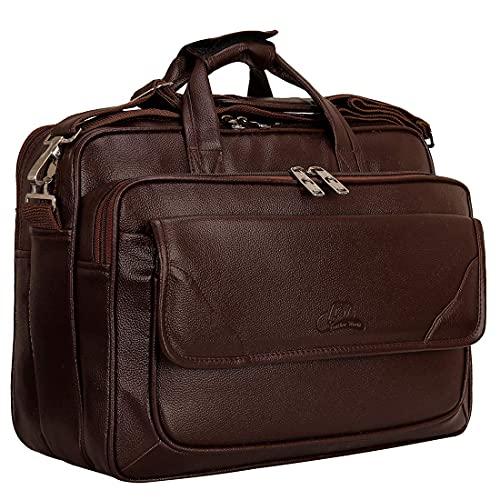 Leather World Pu Leather Designer 15.6 inch Laptop Office Bag for Men Women Messenger Bag Travel Briefcase