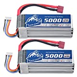 YoWoo 2 packs 5000mAh 50C Burst 100C 4S 14.8V Lipo Battery with Deans T Connector for RC Helicopter Car Boat Quadcopter Airplane(6.1x1.89x1.26in,1.14lb)