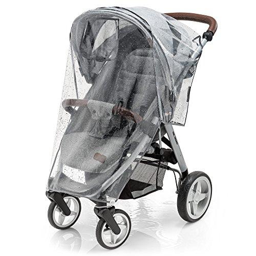 Universal Komfort Regenschutz für Buggy und Sportwagen | gute Luftzirkulation, verschließbares Kontakt-Fenster, einfache Montage an jedem Kinderwagen, PVC-frei