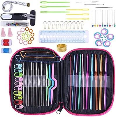 Set de Agujas Ganchillo para principiantes 100 piezas, Kit de agujas de tejer de hilo con estuche, Trapillo para Crochet,: Amazon.es: Hogar