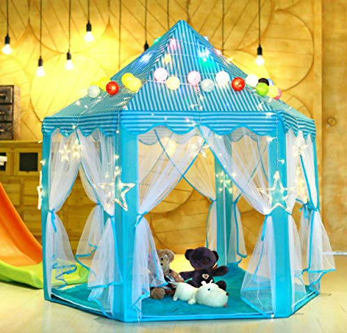 Decorsw Kids Indoor/Outdoor Play Tent Princess Castle Tent, Portable Hexagon Large Playhouse Toys for Girls/Boys with 55''x 53''(DxH) Blue/Pink with LED Lights (Blue with Lights) by Decorsw (Image #1)