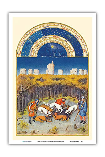 Pacifica Island Art - The Very Rich Hours Duke of Berry (Très Riches Heures) - December - Manuscript Illumination by Limbourg Brothers c.1400s - Master Art Print - 12in x 18in