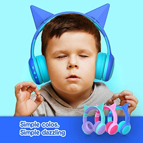 Gorsun Bluetooth Kids Headphones With Microphone,Children's Wireless Headsets With 85dB Volume Limited Hearing Protection,Stereo Over-Ear Headphones For Boys And Girls (Blue)