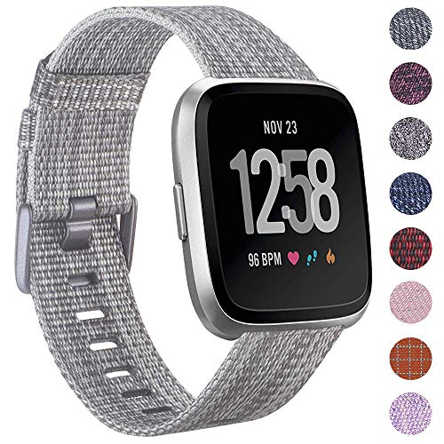 EZCO Compatible withi Fitbit Versa Bands, Woven Fabric Breathable Watch Strap Quick Release Replacement Wristband Accessories Compatible Versa Smart Watch Women Man, Silver Grey