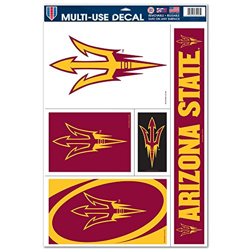 "NCAA Arizona State University 60246011 Multi Use Decal, 11 x 17"", Black"