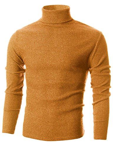 Ohoo Mens Slim Fit Narrow Ribbed Cotton Blend Turtleneck (Orange Ribbed)