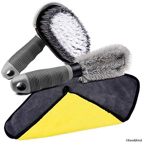 Cleaning Set for Car/Van/Truck/Camper - Nylon Brush for Flat Surfaces (Wheels, Tyres, Bumpers, Floor Mats) - Soft Brush for Openings (Rims, Grille, Roof Rack) - Soft Microfiber Cleaning Cloth ()