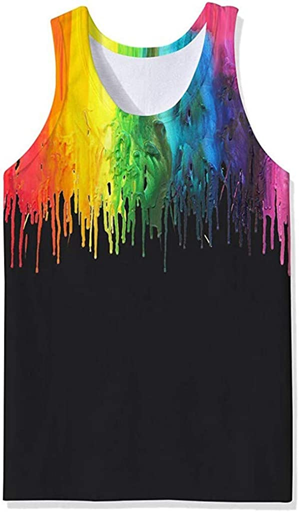 Hmlai Clearance Men Tank Top Beach Funny Summer Sleeveless 3D Graphic Quick Dry Gym Workout Fashion Casual Tees