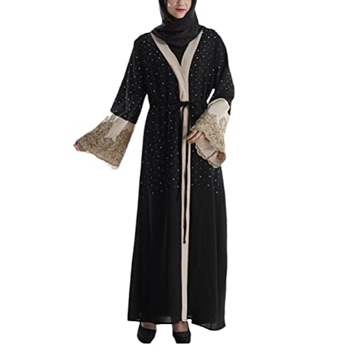 Zhhlaixing Nuovo Muslims Womens Cardigan Robe Embroidery Diamond Dress for Middle East Malay Dubai A...