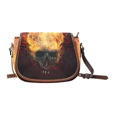 124925280554 Image Unavailable. Image not available for. Color  Burning Skull Oxford  Fabric Saddle Bag ...