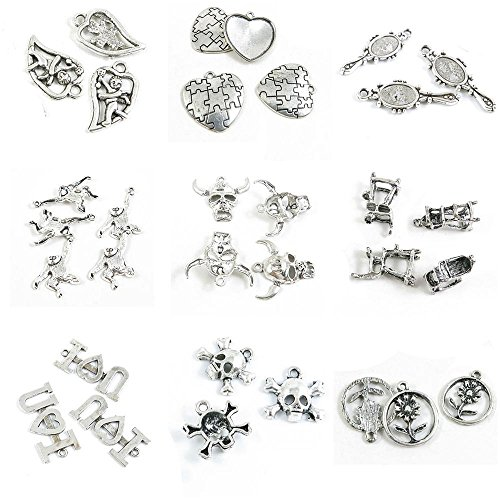 32 PCS Jewelry Making Charms Sunflower Skull Head Inspire Tags Signs Umpire Chair Cattle Mask Monkey ()