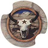 Thirstystone Cow Skull Western Star Car Cup Holder Coaster, 2-Pack