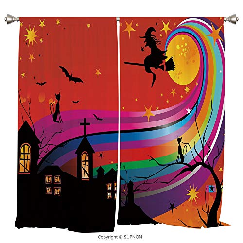 Rod Pocket Curtain Panel Thermal Insulated Blackout Curtains for Bedroom Living Room Dorm Kitchen Cafe/2 Curtain Panels/55 x 39 Inch/Halloween,Witch Woman on Broomstick Bats Cat Stars Rainbow Moon -