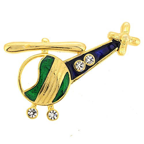 Swarovski Crystal Airplane (Green Blue Helicopter Copter Swarovski Crystal Airplane Brooch Pin)