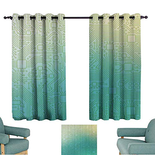 DILITECK Novel Curtains Abstract Decor Technology Pattern Motherboard Image Background Vector Graphics Tie Up Window Drapes Living Room W55 xL63 Jade Green Pale Green