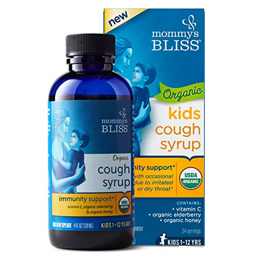 Mommy's Bliss Kids Organic Cough Syrup + Immunity Support with Honey, Elderberry, Vitamin C & Zinc &, Ages 1 Year+ 4 Fluid Ounce (Zarbees Cough Syrup And Mucus Relief Reviews)