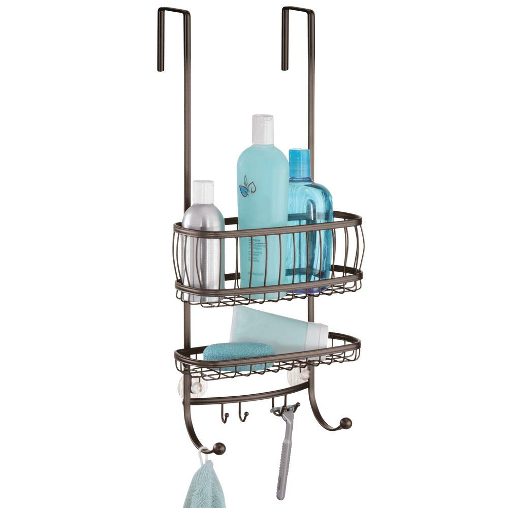 InterDesign York Lyra - Bathroom Over-The-Door Shower Caddy - Bronze - 10 x 8 x 21.75 inches 64371