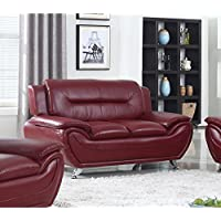 US Furnishing Express Alice Faux Leather Modern Lounge Loveseat Red