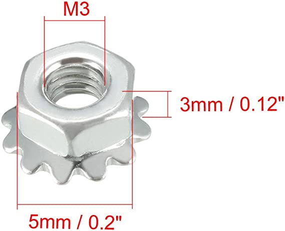 1//2-13 External Star Lock Locknuts Kep Nuts 1//2 x 13 Locking Keps Nut 100