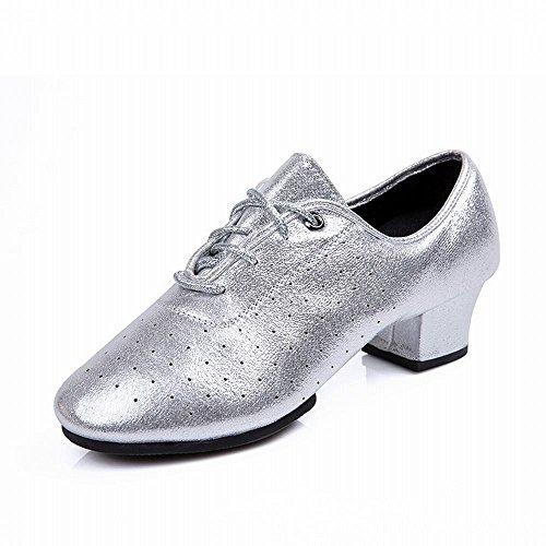 Jazz de Modern Tobillo con Dance Latino Onecolor Goma Zapatos Baile de Blando Square de Suela Fondo Sandalias de Profesores Cuero Plata Baile de BYLE Zapatos Samba Adulto I6tBXqOx