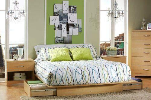 kwantasmile Bedroom Accommodation Bedstead Full Queen Size Natural Maple Wooden Platform Bed Frame Underbed Storage Drawers ()