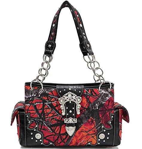 Blancho Ropa de cama Mujer [Ramos] Bolsa de hombro de cuero PU bolso elegante Handbag-Red