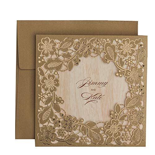 WISHMADE 50 Count Square Laser Cut Wedding Invitation Cards Kits Gold for Wedding Birthday Bridal Shower with Embossed Hollow Floral Favors, Printable Brown Tri Fold Paper (Pack of 50pcs)