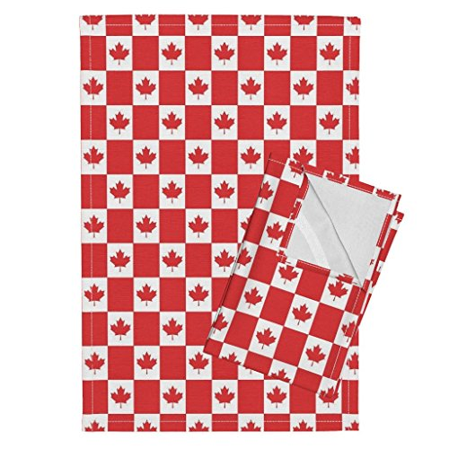 Roostery Canada Tea Towels Canadian Flag Flag Red And White Maple Leaf Christmas Winter by Shandubdesigns Set of 2 Linen Cotton Tea Towels