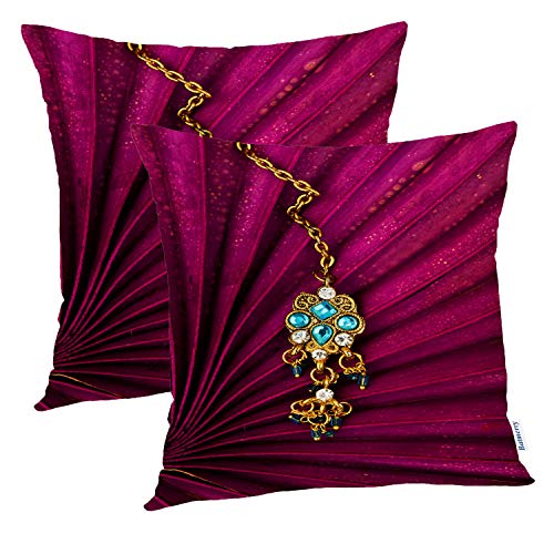 Batmerry Indian Pillow Covers 18x18 Inch Set of 2, Gold Brooch withJewels Emerald Green Double Sided Square Pillow Cases Pillowcase Sofa Cushion