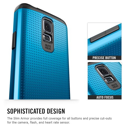 Spigen® [AIR CUSHION] Samsung Galaxy S5 Case Slim [Armor] [Slim Armor Shimmery White] DOTTED Design Slim Fit Dual Layer Protective Case for Galaxy S5 / Galaxy SV / Galaxy S V (2014) - Shimmery White (SGP10755)