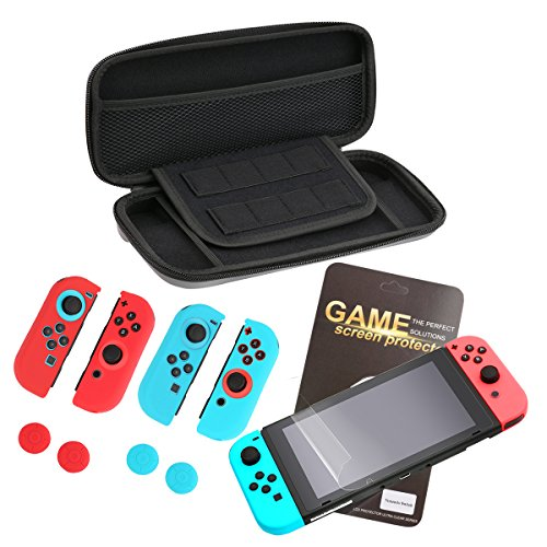 Pojazia Nintendo Switch Carrying Case, Nintendo Switch Carrying Game Traveler Deluxe Travel Case with Screen Protector and Gel Guards for Nintendo Switch Joy-Con (Wii Deluxe Kit)