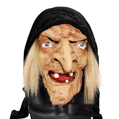 xuehaojie Halloween Horror Mask Latex Headgear Party Ball Mask Women Dress Up Movie Props Sorceress Witch Mask