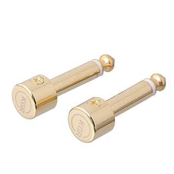LYWS - Tapón de latón chapado en oro sin soldadura en ángulo recto para pedalboard: Amazon.es: Instrumentos musicales