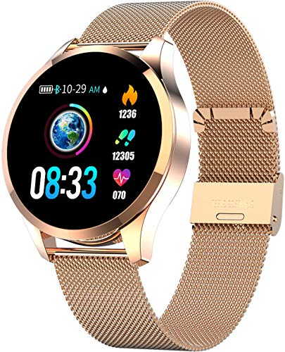 Orphun Smart Watch Fitness Tracker Color Screen Heart Rate Sleep Monitor Calorie Counter Pedometer Camera Stainless Steel Rose Gold