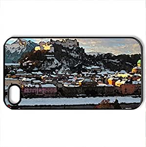 lintao diy Austria Salzburg - Case Cover for iPhone 4 and 4s (Watercolor style, Black)