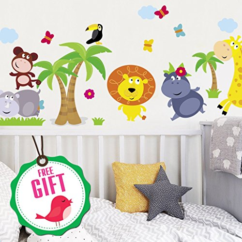Cheap Animal Safari Jungle Vinyl Wall Decal for kids bedroom playroom - Decorative Art Stickers for Baby Girl Boy Wall Decor - Nursery Wall Stickers [24 art clings] - Wall Decals for Boy - with GIFT! hot sale
