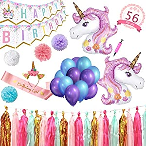 Party Maniak Unicorn Party Supplies Decorations for Girls with Banner, Foil and Latex Balloons, Tassels and Pom Pom