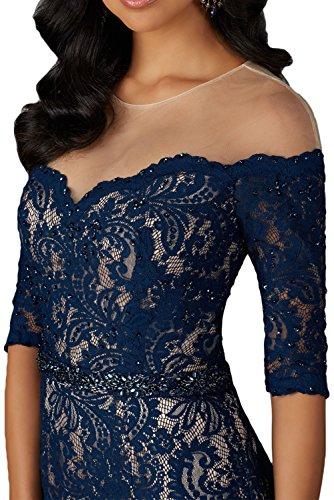 Abendkleider Brautmutterkleider La Still Blau Damen Dunkel Spitze Langarm Meerjungfrau Ballkleider Partykleider mia Braut 4nUqxnRX