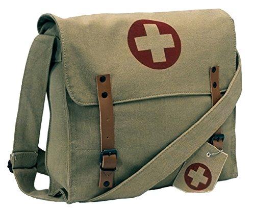 (Rothco Khaki Vintage Army Red Cross Medic Shoulder Messenger Bag)