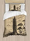 Ambesonne Asian Duvet Cover Set Twin Size, Old Stone Tiered Tower Vintage Taoist House of Faith Historical Illustration, Decorative 2 Piece Bedding Set with 1 Pillow Sham, Pale Brown Black