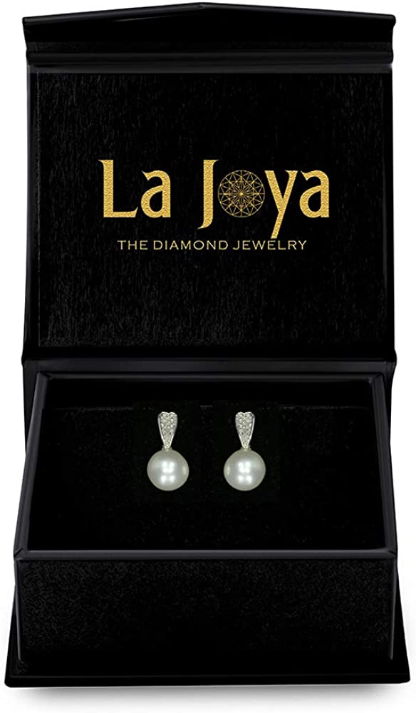925 Sterling Silver 6.00 mm Freshwater Cultured Pearl Round White Diamond Drop Stud Earrings for Women