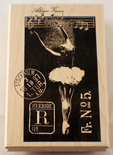 Stampington And Company Ballerina Swan Lake Postage Wood Rubber Stamp #K5503 by Stampington and Co