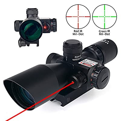 Clarity+ 2.5-10x40 Tactical Rifle Scope Dual Illuminated Mil-dot W/ Integrated RED Laser